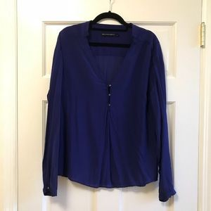 Zara Blue Long Sleeved Blouse with Gold Buttons